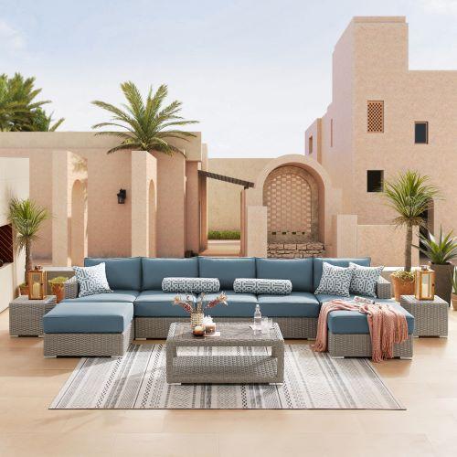 Ensemble sofa extérieur 10 pièces couleur bleu denim